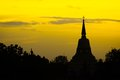 Budhism pagoda silhouette in phitsanulok province of thailand Stock Photo