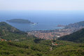 Budva montenegro aerial shot of and island in Stock Photos