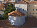 Budva old city top view to with dome of st john cathedral on foreground Royalty Free Stock Images