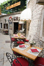 Budva restaurant montenegro may street in the montenegrin town of on may in montenegro Stock Photo