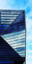 Bue triangle shot in color building whit shape and mixed range of blues ladefense paris france Stock Photos