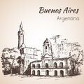 Buenos Aires city street and square. Argentina. Sketch.