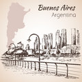 Buenos Aires cityscape seafront. Argentina. Sketch.