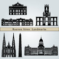 Buenos aires landmarks and monuments on blue background in editable vector file Royalty Free Stock Photos