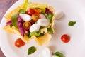 Bufallo mozzarela appetizer with cherry tomatoes and basil Stock Photography