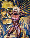 Buff barbie flex appeal pro women s bodybuilder melissa coates a canadian shows her with a front double biceps pose at the ifbb ms Royalty Free Stock Photos