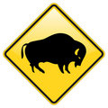 Buffalo crossing warning Stock Image