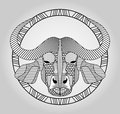 Buffalo head symmetric hatched drawing in circle picture bufallo head totem club emblem vector eps Stock Photo