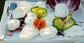 Buffalo milk mozzarella wedding banquet some pieces of during a Stock Photos
