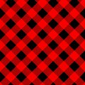 Buffalo plaid seamless pattern with diagonal lines. Alternating red and black squares lumberjack background. Vector