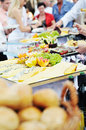 Buffet food people Royalty Free Stock Photo