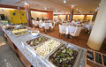 Buffet in hotel dining room Stock Images
