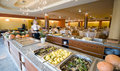 Buffet in hotel dining room Royalty Free Stock Photography