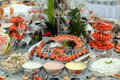 Buffet table with seafood Royalty Free Stock Photo