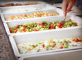 Buffet trays style food in Royalty Free Stock Image