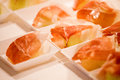 Buffet wedding with prosciutto and decorum Royalty Free Stock Photos