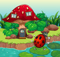 A bug dancing near the mushroom house illustration of Royalty Free Stock Images