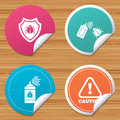 Bug disinfection signs. Caution attention icon. Royalty Free Stock Photo