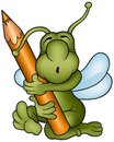 Bug and Pencil Royalty Free Stock Images