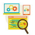 Bug in the programming code flat vector illustration eps Royalty Free Stock Photos