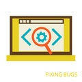 Bug in the programming code flat vector illustration eps Stock Photos