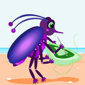 Bug sewing a rug Royalty Free Stock Photos