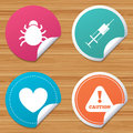 Bug and vaccine signs. Heart, spray can icons. Royalty Free Stock Photo