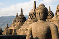 Buggha statue and stupas in Borobudur temple, Indonesia Stock Images