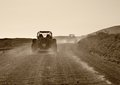 Buggy driving scenery warm toned at lanzarote canary islands spain Stock Image