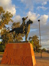 The bugler sounds retreat equestrian statue of s cavalry soldier at fort lowell park tucson az statue is public property therefore Stock Photography
