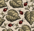 Bugs. Beautiful background from leaves. Royalty Free Stock Photo