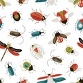 Bugs and beetles vector seamless pattern. Entomology and insects colorful backdrop. Dragonfly, ladybugs, ladybirds and Royalty Free Stock Photo