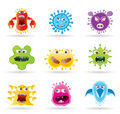 Bugs, germs and virus icons Royalty Free Stock Images