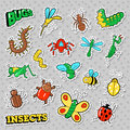 Bugs and Insects Patches, Stickers, Badges Set for Prints and Textile
