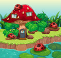 Bugs outside the mushroom house illustration of Stock Photography