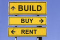Build buy rent three yellow signs with arrows in front of a blue sky showing the ways to or concept for marketing real estate Stock Photos