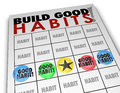Build good habits bingo card develop strong skills growth words on a to illustrate positive routines processes and procedures for Royalty Free Stock Photos