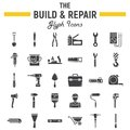 Build and Repair glyph icon set, construction sign