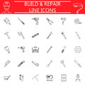 Build and Repair line icon set