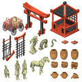 Build, snake, samurai and decor in Asian style