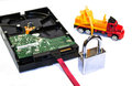 Build your security hdd with keys lock construction truck data concept Royalty Free Stock Image