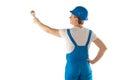 Builder in blue work uniform Royalty Free Stock Photo