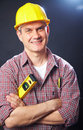 Builder on a dark background Stock Image