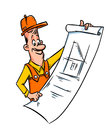 Builder engineer cartoon illustration looks overall drawing isolated Royalty Free Stock Photo