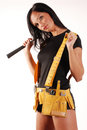 Builder girl Stock Image