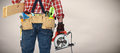 Builder handyman with electric saw. Royalty Free Stock Photo