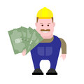 Builder holds money illustration of on white background Royalty Free Stock Images
