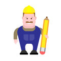 Builder holds a pencil illustration of on white background Stock Photo