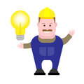 Builder with lamp illustration of on white background Stock Photos
