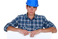 Builder looking upset about something Stock Photo